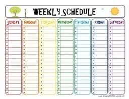 week schedule print out printable week schedule to help with homework and after school