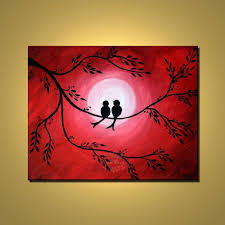 original abstract fine art red painting love birds by colorblast 110 00