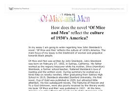 how does the novel of mice and men reflect the culture of s  document image preview