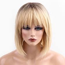 4999 Paruka Na Vlasy Bez Vlasů Přírodní Vlasy Volný Krátké účesy 2019 Styl Ombre Vlasy Tmavé Kořínky Střední Na Stroji Paruka