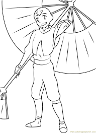 Small Picture Aang with Umbrella Coloring Page Free Avatar The Last Airbender