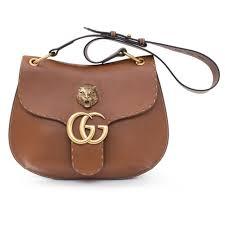 gucci animalier gg marmont leather shoulder bag brown tiger handbag italy new