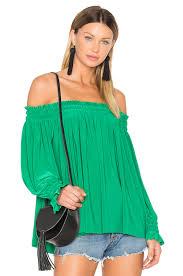 Norma Kamali Peasant Top Kelly Green Women Norma Kamali Size