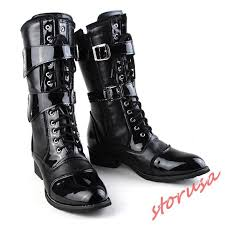 details about mens motorcycle lace up patent leather shoes punk military combat high top boots