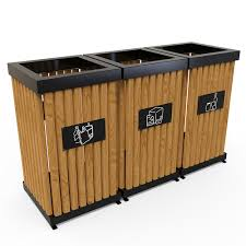 boras m outdoor recycling bins made from sheet metal pine wood 5
