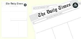 Free Newspaper Article Template For Students Blank Newspaper Front Page Template Free Article For Students