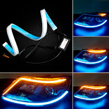 Blue Led Running Lights Us 16 63 31 Off 60cm Led Drl Strip Light Ice Blue White Car Day Light Daytime Running Lights Flexible Sequential Flow Strip Turn Signal Lamp In Car