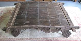 lot antique ox cart converted to large coffee table indian for