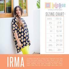 Irma Sizing Chart Lularoe Irma Size Chart Lularoe Size
