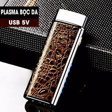 Bật lửa điện 2 tia chéo plasma - bọc da - đèn pin - full box - inox bạc  bóng - có video sản phẩm - bền rẻ đẹp.