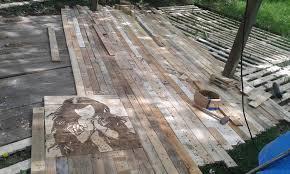 wood patio floor pallet deck diy patio