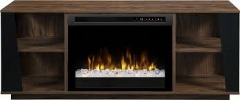 arlo walnut media console electric fireplace with glass ember bed