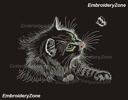 Cat Silhouette Embroidery Design Nice Black Cat And Butterfly Outline Machine Embroidery