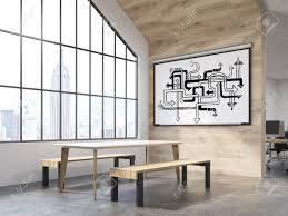 office canteen. Office Interior With White Board Arrow Labyrinth, Table And Benches  Attic Window. Office Canteen