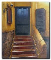 stairs door of old house impressionism oil painting