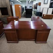 walnut office desks. used kimball left 72 walnut office desks