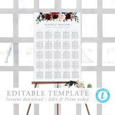 Etsy Wedding Seating Chart Alphabetical Alphabetical Seating Chart Template Burgundy Wedding Seating Chart Marsala Alphabetized Printable Seating Plan Editable Sign Templett 12