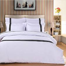 aliexpress com fashion hotel bedding set white 4pcs black stripe duvet cover pure color bedclothes bed sheet cotton home textile queen king from