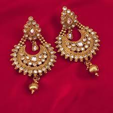 indian pretty gold dangle earrings antique finish jodha akhbar kundan big dangle earrings with red