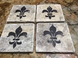 Decorative Tile Coasters Fleur De Lis Drink Coasters Travertine Stone Tile Coasters Home 21