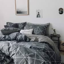 karever men grid bedding set black