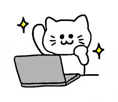 頑張る猫のパソコン作業イラスト 無料イラスト素材素材ラボ