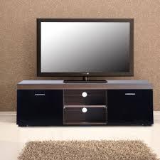 homcom tv stand storage cabinet w shelves walnut black