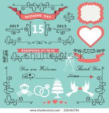 wedding invitations design template setswirling decor stock vector Wedding Invitation Postcard Vector wedding invitations design template set swirling decor elements,pigeons,ribbons,label, vector and psd - wedding invitation postcard