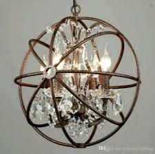 iron light fixtures restoration hardware chandelier orb crystal large