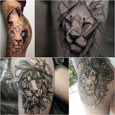 тату лев тату лев на бедре татуировка со львом на бедре лева