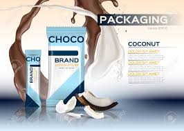 Product Label Design Online Coconut Chocolate Packaging Vector Realistic 3d Label Design