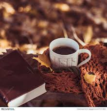 Get red sky at dawn wallpaper. Hot Coffee And Red Book With Autumn Leaves On Wood Background Seasonal Relax Concept Stock Photo 73170821 Megapixl