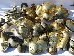 old solid brass lamp parts lot, vintage chandelier light restoration pieces  etc.