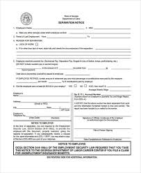 10 Separation Notice Templates Free Sample Example Format Download