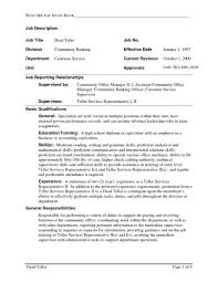 Resume Bank Teller Responsibilities Resume Sample For With No