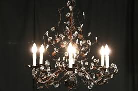 wrought iron vine crystal chandelier 6 candles photo 1