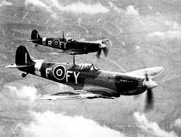spitfire airplane. two spitfire fvb in flight airplane