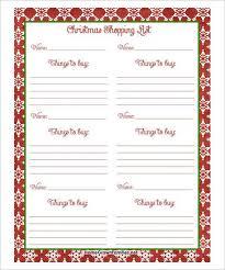 Free Christmas Shopping List PDF Download