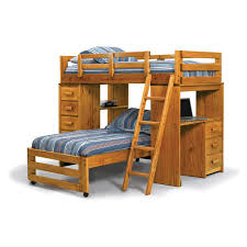 Bedroom Brown Varnished Oak Wooden Bunk Bed With Stairs And