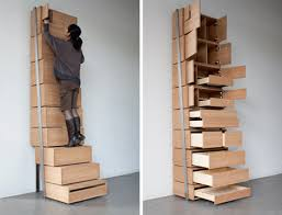 Dutch designer Danny Kuo has created Staircase shelving unit. This  vertically built storage was designed to use space in the most efficient  way.