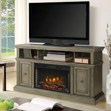 media electric fireplace tv stand in dark weathered gray