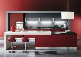 black and red kitchen design. three-dimensional forms. italian kitchen town black and red design