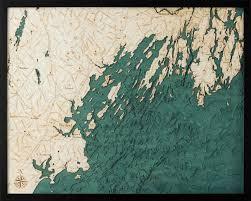 Portland Maine 3 D Nautical Wood Chart 24 5 X 31