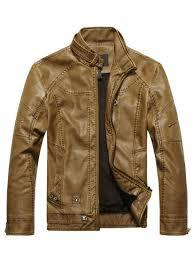 faux leather mens biker jacket brown l