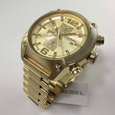 men s gold tone diesel overflow chronograph steel watch dz4299