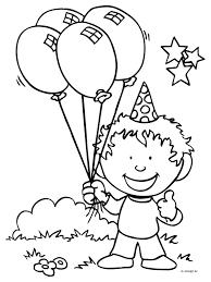 Kleurplaat Jongen Met Ballonnen Kleurplatennl