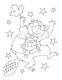 Small Picture Happy beaver waving Canada flag coloring pages Download Free