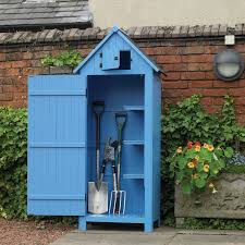 kingfisher blue wooden garden tool shed w2 5ft x d1 6ft
