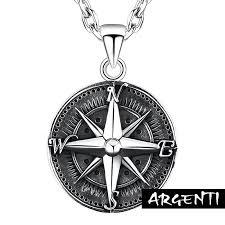 north star compass men s silver pendant