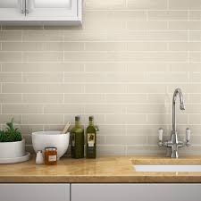 kitchen wall tiles. Mileto Brick Bone Gloss Ceramic Wall Tile - 75 X 300mm Large Image Kitchen Tiles